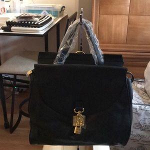 New Joy & Iman Black Leather Satchel/Backpack